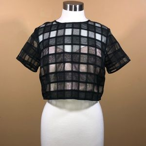 Sz M Do&Be Black and Nude Crop Top